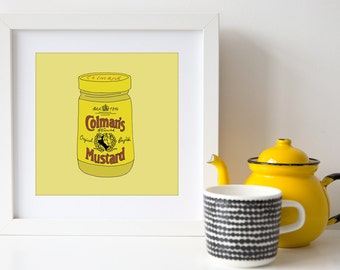 English Mustard - Square Hand Drawn Illustration Print - Gift for foodie - chef art - cook art - kitchen art - Colmans english Mustard