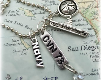 US Navy aircraft carrier hand stamped charm necklace by Son and Sea FREE US shipping