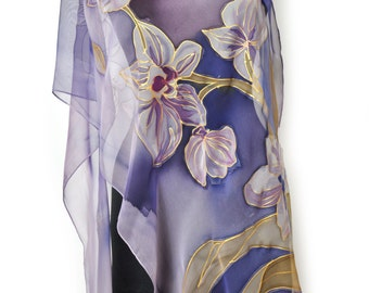 Hand painted silk chiffon scarf/Purple flowers/Painting by hand Orchids/Luxury gift for woman/Floral scarf/100% silk chiffon scarf/S0017