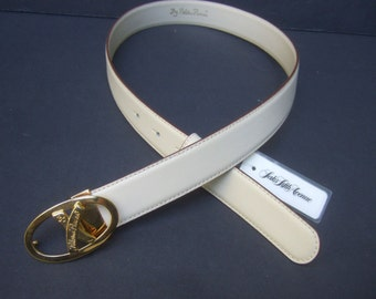 PALOMA PICASSO Ivory Leather Gilt Buckle Belt