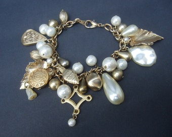 Dangling Gilt Leaf Faux Pearl Dangling Charm Bracelet c 1980s