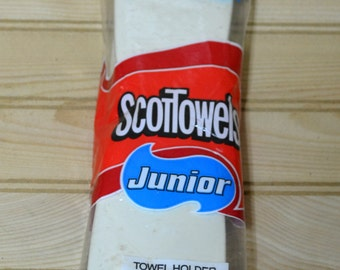 Vintage Paper Towel Holder ScotTowels Junior 1983 Made in USA Mountable Never Opened Beige Unused Scot Paper Company