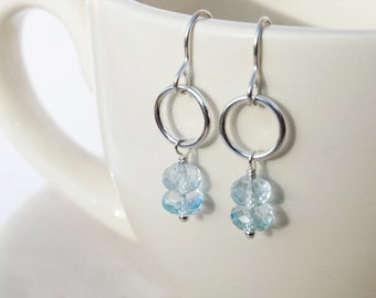 Silver Circle Earrings With & Sky Blue Topaz - Sterling Silver