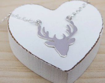 Silver Stag Head Necklace - Sterling Silver