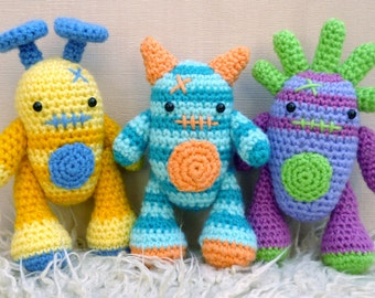 Mini Monsters Amigurumi Crochet Pattern, Harry, Barry and Larry.