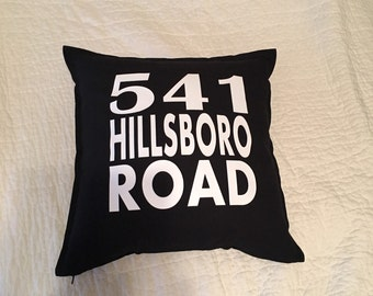 Street Address Black Decorative Indoor or Outdoor Pillow Cover FREE SHIPPING