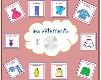 CLOTHES FRENCH FLASHCARDS,Learn Clothes in French with Pronunciation on Audio File,Teaching Resources, Learning Word Cards,Audio Cards