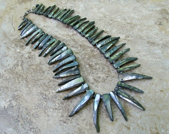 Spiky: Shell sticks and czech seed beads necklace,mother of pearl beaded necklace
