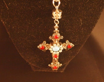 Handmade Silver Red and Turquoise Cross