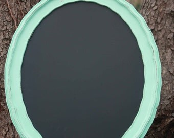 Oval Magnetic Chalkboard - Seafoam Green Scalloped Frame - Shanby Chic beachy home decor
