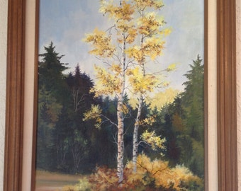 Vintage Aspen Trees In Forest Landscape Painting by Sandi Wright