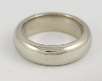 6mm 6x3mm Mens Half Round Wedding Band / Solid 14k 18k 22k 24k Gold / Yellow Rose or White Gold - Size 4-8.75