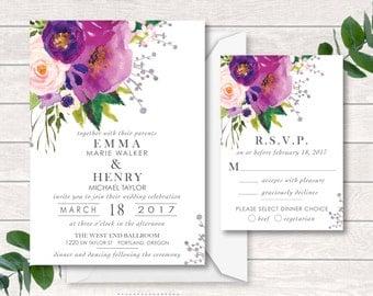 Digital Wedding Invitation, Wedding Invitation Suite, Printable, Digital, Watercolor, Watercolor Wash Pink, Purple, Romantic, Unique,