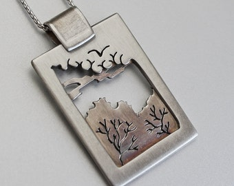 Silver Tree Pendant, 'Chelsea Morning', silver jewelry