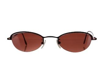 90s CHLOE Luxe Metallic Round / Oval Vintage Designer Sunglasses