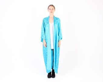 Chinese SILK Aqua Blue Floaty Long Maxi Kimono Jacket / Robe / Duster