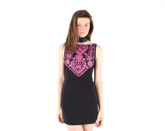 90s Indian Mirror Embellished Embroidered Black + Pink Mini Dress