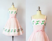 vintage 50s dress / 1950s floral embroidered dress / semi sheer cotton voile dress / pink and green sundress / Perennial Favorite dress