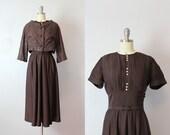 vintage 40s dress / 1940s brown dress jacket set / dark brown day dress / pintuck pleat dress / cropped jacket / Double Shot dress