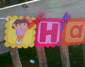 Dora the Explorer Banner, Dora Birthday Banner, Dora and Boots Banner, Dora Happy Birthday Banner, Dora Birthday, Dora Party Banner