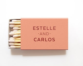 Matchbox Wedding Favors Personalized With Your Names Foil Stamped Matches Bridal Shower Matchboxes Rehearsal Anniversary