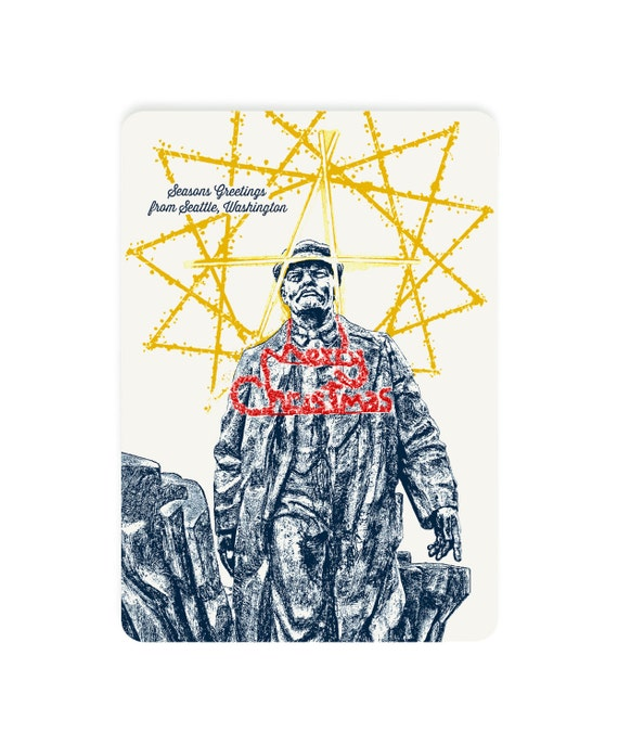 Holiday Seattle, WA Themed Postcards - Fremont Square's Holiday Dressed Lenin - Single or Set