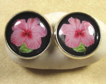 Pink Hibiscus Stud or Lever Back Earrings