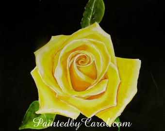 Rose Print - Yellow Rose, Floral, Flower Watercolor Painting Art Print