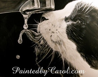 Cat Painting - Black and White, Monochrome, Thirsty Cat Original Watercolor and Acrylic, Mixed-Media Painting