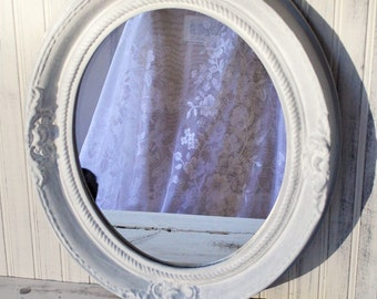 Oval mirror White wash over Paris grey French Cottage Shabby Upcyclesisters