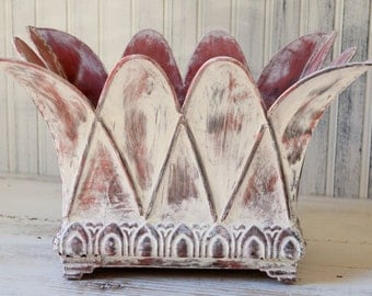 Metal planter Barn red white washed French farmhouse Cottage chic Shabby Upcyclesisters
