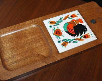 Vintage Cheese Board Mid Century Modern Wooden Cutting Board Retro Snack Serving Tray MOD Dinnerware Danish Modern Home Living Kitchen Tools