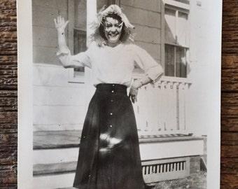 Original Vintage Photograph Straw Hat Sally