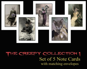 The Creepy Collection 1 - Halloween Note Cards Set of 5 - Anthropomorphic - Altered Photo - Creepy Cards - Unique Card Set