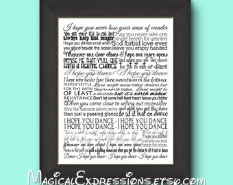I Hope You Dance Typography Song Lyric Art Print 11 by 14