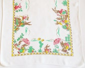 Lovely Old German Vintage Easter Spring Printed Table runner with Bunny School, Retro Ester Home Decor for Easter