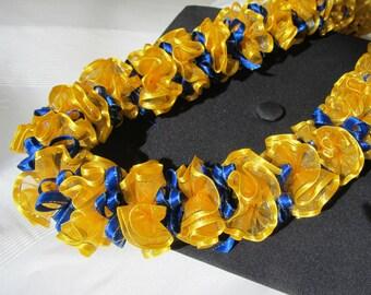 Hawaiian Ribbon Lei Yellow-Gold Pom Pom & Royal Blue loops