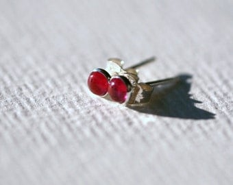 Tiny 4mm Ruby and Sterling Silver Stud Earrings