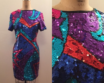Pop art bright sequin ss mini dress