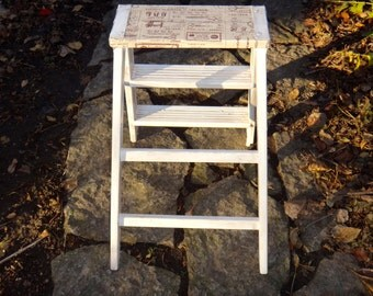 Ladder, Small Step Ladder, French Country Furniture, White Ladder, Rustic Farmhouse Plant Stand, Wooden Ladder, Plant Shelf, Wooden Shelves
