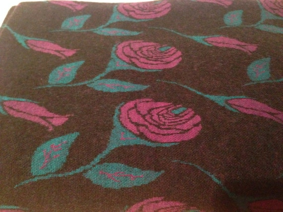 Soft Black Fabric with Purple Flowers F40