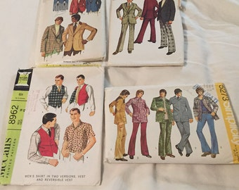 Vintage Authentic 1960's and 1970's Clothing Patterns for Men