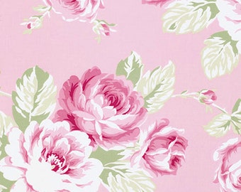 Rose Fabric, Sunshine Roses, Full Bloom Rose, Pink Cottage Chic Cotton Fabric, End of Bolt Bonus