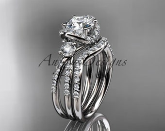 14kt white gold diamond unique engagement set, wedding ring ADER146S