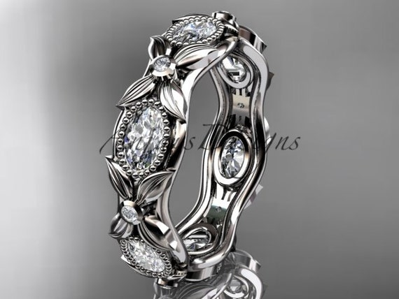 14kt  white  gold diamond leaf and vine wedding ring, engagement ring ADLR152. nature inspired jewelry