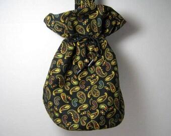 Paisley Drawstring Hobo Bag with Handle, Tarot Card Pouch