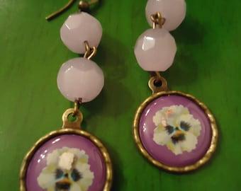 Boho Vintage Inspired Ice Pink & Lavendar Art Deco  Bride Earrings