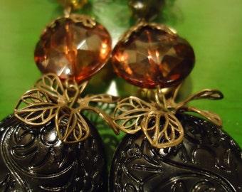 Boho Handcrafted One of a Kind, Gypsy Boho Vintage INspired Fairy Tale Earrings
