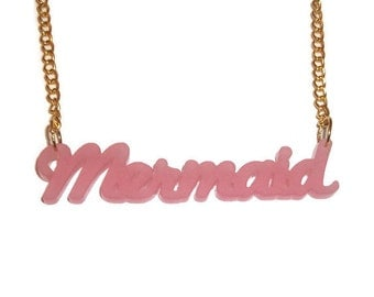 Pink Mermaid Necklace Pastel Pale Cute Kawaii Quirky Frosted Laser Cut Acrylic