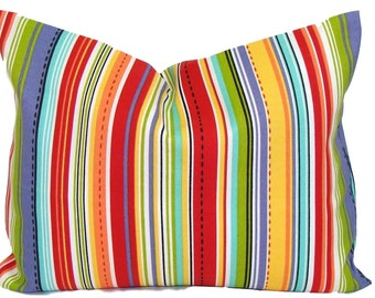 OUTDOOR PILLOW.STRIPE.12X16 or 12x18 inch.Decorative Pillow Cover.Housewares.Home Decor.Red.Orange.Green.Indoor.Outdoor.Cushion Cover.Cm